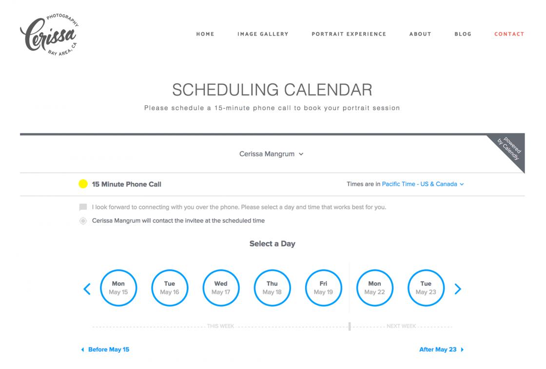 New scheduling calendar app for Cerissa Mangrum Photography website